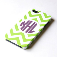 Personalized teal chevron iphone 5 Case, Monogrammed iphone 5 Cover, Hard iphone 5 Case - Monogrammed iphone case