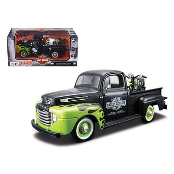 1948 Ford F 1 Pickup Truck Harley Davidson With 1948 FL Panhead Motorcycle Black/Green 1/24 by Maisto