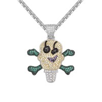 Multi Color Iced Out Ice Cream Skull Character Pendant Chain