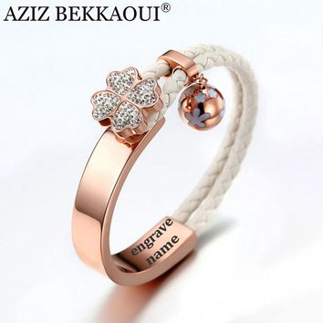 AZIZ BEKKAOUI Rose Gold Bangles For Women 3D Crystal Flower Charms Bracelet Engraved Name Lover Bracelet Braided Rope Chain