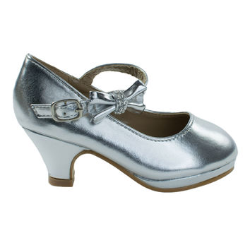 Dana62K Silver by Forever Link, Girl Round Toe Mary-Jane Dress Pump w Platform. Children Shoes