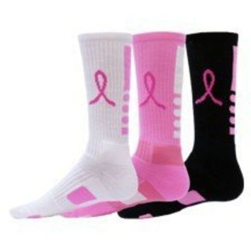 Red Lion Ribbon Legend Crew Breast Cancer Awareness Socks 3 Pair Pack:Amazon:Sports & Outdoors