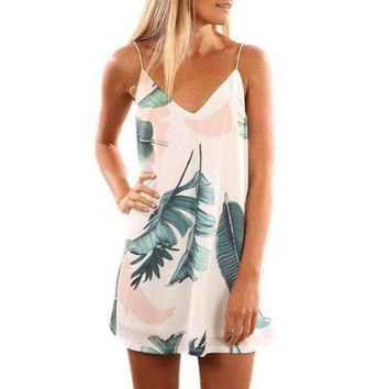 Light Tropical Palm Print Short Dress