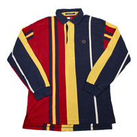 Vintage 90s Tommy Hilfiger Polo Shirt in Navy/Yellow/Red Mens Size Medium