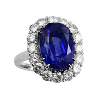 Art Deco Ceylon Blue Sapphire Diamond Ring