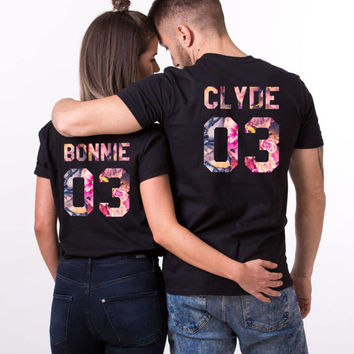 Bonnie and Clyde Shirts, Bonnie Clyde Floral Shirts, Bonnie Clyde Fleur Shirts, Bonnie Clyde Shirts, Fleur Collection, UNISEX