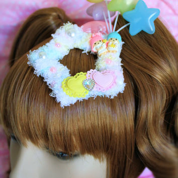 MADE TO ORDER-Little Twin Stars Fuzzy Two Way Clip-Fairy Kei Fuzzy Clip-Sweet Lolita Clip
