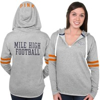 PINK by Victoria's Secret Denver Broncos Women's Gray Varsity Tunic Pullover Hoodie