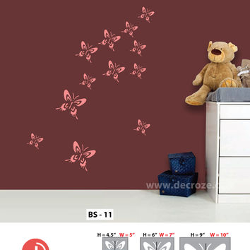 Easy way to designing a room wall for butterfly  stencils,BS-11