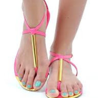 Pink Gold Cap Thong Sandals