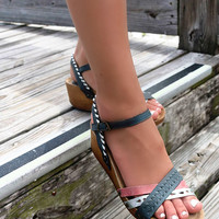 St. Ives Multi Color Leather Cross Strap Wedge Sandals