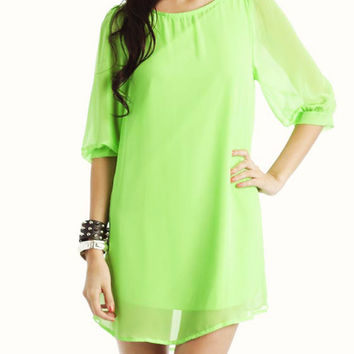 chiffon-overlay-shift-dress NEONGREEN - GoJane.com