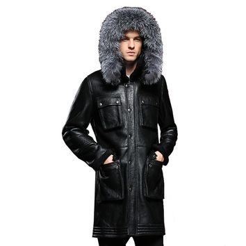 Detachable Silver Fox Hooded Genuine Leather Sheepskin Fur Coat Male Formal Shearling Clothing Winter Sheepskin Jacket Men Fur