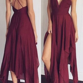 Cross Back Backless Irregular Homecoming Party Maxi Dress