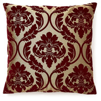 Damask 20x20 Velvet Pillow, Burgundy, Decorative Pillows