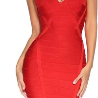 Red Velvet Bandage Dress