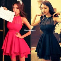 Women Halter Neck Bandage Dress Lace Peplum Party Club Cocktail Summer Skirt