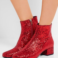 Saint Laurent - Babies glittered leather ankle boots