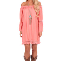 Peach Bell Sleeve Off Shoulder Dress or Top