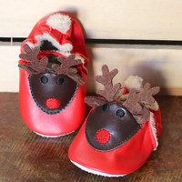 Baby's Reindeer Christmas Bootie {Red+Brown}