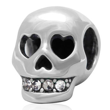 New Authentic 925 Sterling Sliver Bead Charm Skull Rhinestone Beads Fit Pandora Bracelets & Bangle Necklaces DIY Jewelry SS3150