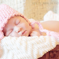 IN STOCK 0-3 Months - Pink Baby Ear Flap Crochet Baby Hat with scallop trim