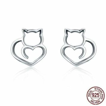 Authentic 925 Sterling Silver Cute Cat Small Stud Earrings