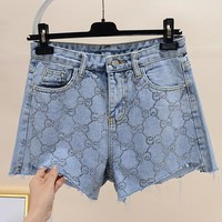 GUCCI Summer Fashion Women Casual GG Letter Diamond Denim High Waist Shorts