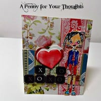 Hugs and Kisses Handmade Valentine .Ready to Ship.