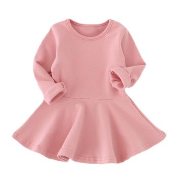 Spring Candy Color Cotton Baby Girl Dresses Long Sleeve Solid Princess Dress Bow-knot O-neck Casual Kids Pleated Dresses