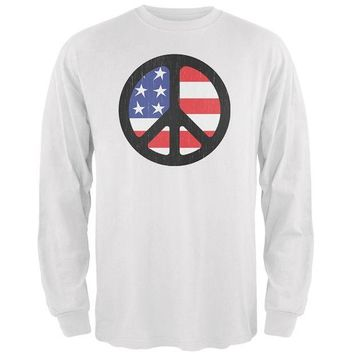 DCCKU3R 4th of July American Flag Peace Sign Distressed Halftone Mens Long Sleeve T Shirt