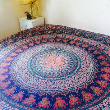 Indian Mandala Hippie  Bohemian Wall Hanging Tapestry Throw Double Bedspread 90x 100""