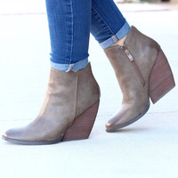Very Volatile: Gwen Wedge Bootie {Taupe}