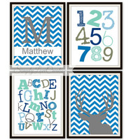 "Deer Prints - ABC's and 123""s Print // Children's Room Decor // HomeDecor // Deer Nursery // Deer Hunting Art// Chevron Print // Boys Art"