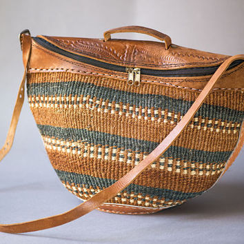 Vintage Sisal Bag - Woven and Leather Ethnic Tote - Woven Fiber and Tooled Leather Sisal Bag - Beach Bag Striped African Style Handmade Boho