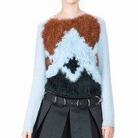 OPENING CEREMONY CHANCE ARGYLE KNIT FUR CREWNECK - WOMEN - JUST IN - OPENING CEREMONY