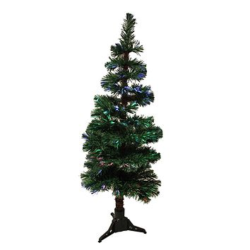 4' Pre-Lit Fiber Optic Artificial Spiral Pine Christmas Tree - Multi Lights