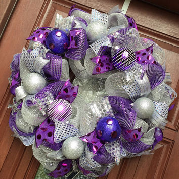 Deco Mesh Christmas Wreath -Silver Purple Christmas Wreath - Holiday Wreath - Purple Silver Christmas Wreath