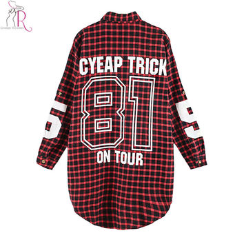 Red Women Boyfriend BF Style Monogrammed Plaid Long Sleeves Long Oversized Loose Shirt W/ Back Letter and Numbers Print