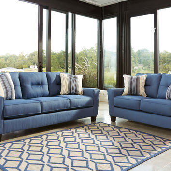 2 pc Forsan nuvella collection blue fabric upholstered sofa and love seat set with squared arms