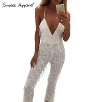 Simplee Apparel Gold sequin tassel elegant jumpsuit romper Summer sexy mesh club overalls Women v neck fringe sling playsuit