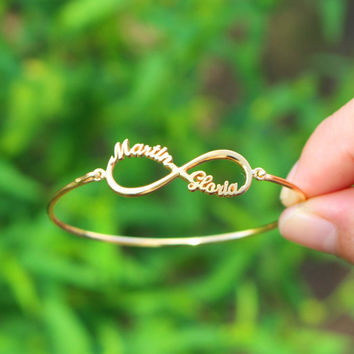 Infinity Name Bracelet - Silver Bangle - Personalized Gifts - Sterling Silver / 18K Gold Plated / White Gold Plated