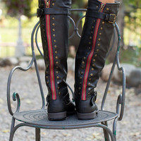 Studded Back Riding Boots Black