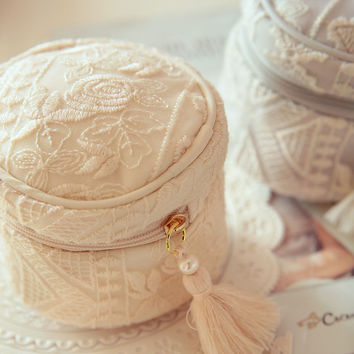 Lace Embroidered Round Trinket Box