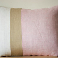 Pink Lumbar Pillow -Throw Pillow color block -Couch Pillows -Decorative cushion cover- Spring Throw pillow - gift- 12X20- Pink Linen Pillows