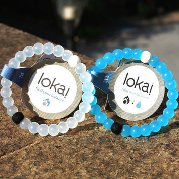 Blue White Color LOKAI Bracelet Mud from Dead Sea Water from MT Everest