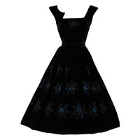 Vintage 1950's David Hart Velvet Eyelet Stars Cocktail Dress