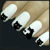 Halloween Nail Decal 20 Cat Nail Art Water Slide Decals Fingernail Decal Haunting Nail Tattoos Nail Transfers