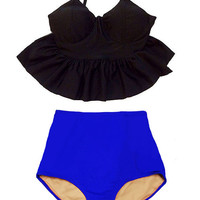 Black Long Peplum Strap Top and Blue Vintage High Waist Waisted Swimsuit Swimsuits Swimwears Bikini Bikinis set 2PC Bathing Swim suit S M