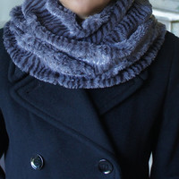 Gray faux fur neckwarmer, Grey faux fur cowl, Plush collar, wrap